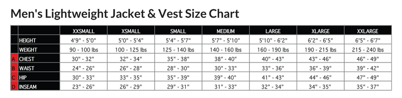 Podiumwear Men's Lightweight Cycling Vest Size Chart
